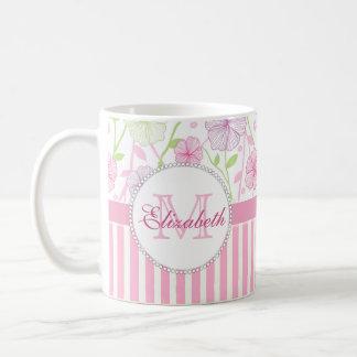 Caneca De Café Listras do rosa Pastel, do roxo, das flores, as