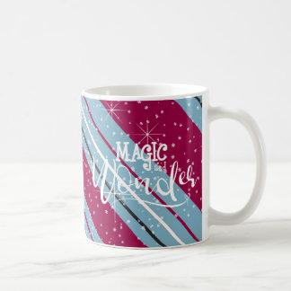 Caneca De Café Listras ID440 azul do Natal da mágica e da