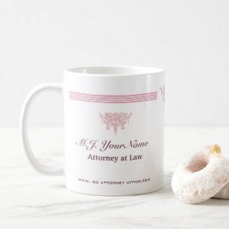 Caneca De Café Listras luxuosas do advogado e emblema cor-de-rosa