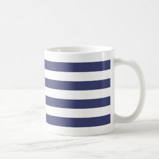 Caneca De Café Listras náuticas dos azuis marinhos e do branco