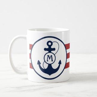 Caneca De Café Listras náuticas vermelhas com âncora e monograma