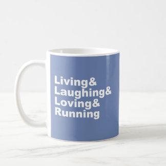 Caneca De Café Living&Laughing&Loving&RUNNING (branco)