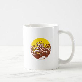 Caneca De Café Losi que derrota o Woodcut do círculo do deus