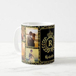 Caneca De Café Louro real do ouro da coroa da colagem | da foto