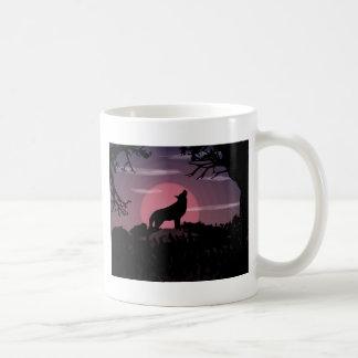 Caneca De Café Lua cheia do lobo