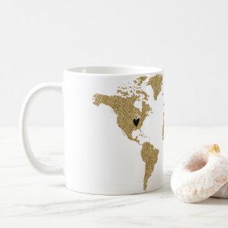 Caneca De Café Lugar móvel feito sob encomenda do coração do mapa