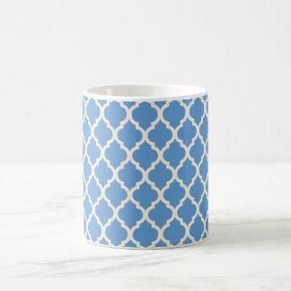 Caneca De Café Luz - azul e fora de Quatrefoil branco