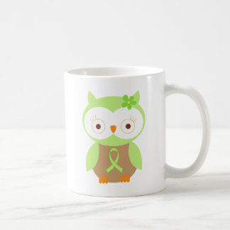 Caneca De Café Luz - coruja verde da consciência da fita