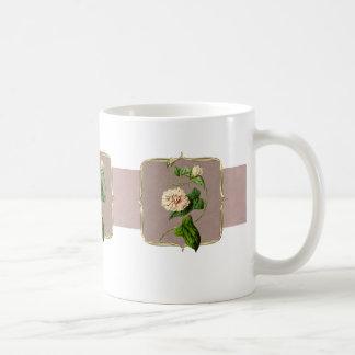 Caneca De Café Luz - o vintage cor-de-rosa floresce largamente