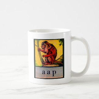 Caneca De Café Macaco holandês do aap do alfabeto retro do miúdo
