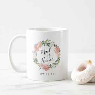 Caneca De Café Madrinha de casamento floral da grinalda dos