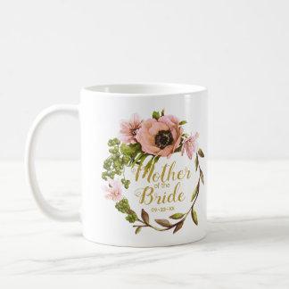 Caneca De Café Mãe cor-de-rosa da grinalda da peônia da noiva