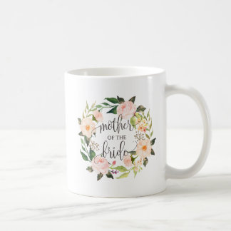 Caneca De Café Mãe da noiva, caligrafia, Wreath-2 floral