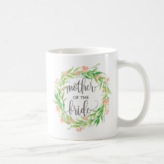 Caneca De Café Mãe da noiva, caligrafia, Wreath-3 floral