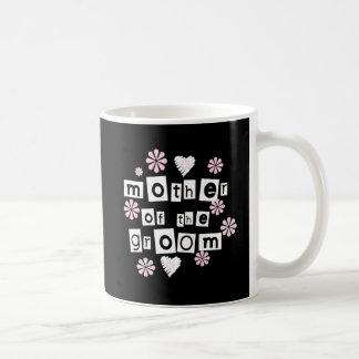 Caneca De Café Mãe do branco do noivo no preto
