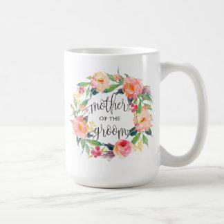 Caneca De Café Mãe do noivo, caligrafia, grinalda floral