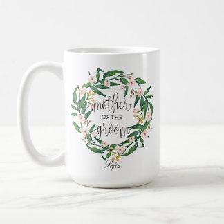 Caneca De Café Mãe do noivo, caligrafia, Wreath-6 floral