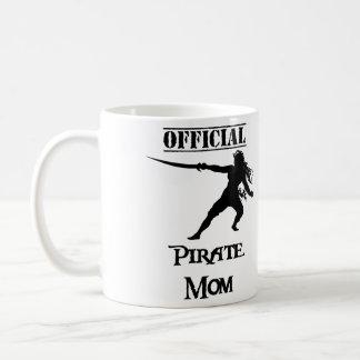 Caneca De Café Mamã oficial do pirata com espada - preto