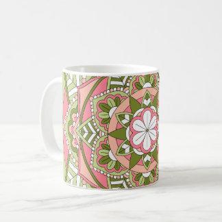 Caneca De Café Mandala floral colorida 061117_1