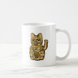Caneca De Café Maneki dourado Neko