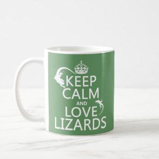 Caneca De Café Mantenha a calma e ame lagartos - todas as cores
