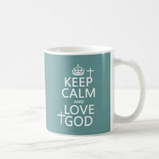 Caneca De Café Mantenha a calma e ame o deus - todas as cores