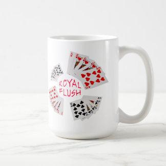 Caneca De Café Mãos de póquer - resplendor real customizável