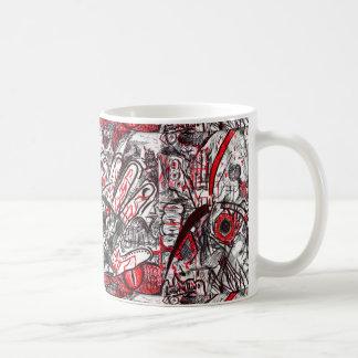 Caneca De Café Mãos do desenho da caneta da raiva