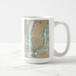 Caneca De Café Mapa antigo do Lower Manhattan e do Central Park