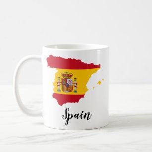 Caneca De Café Mapa da bandeira da espanha