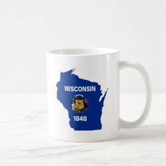 Caneca De Café Mapa da bandeira de Wisconsin