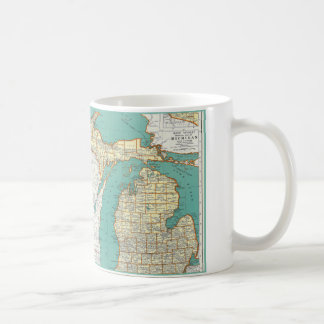 Caneca De Café Mapa de Michigan do vintage
