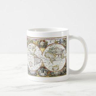 Caneca De Café Mapa do mundo antigo por Hendrik Hondius, 1630