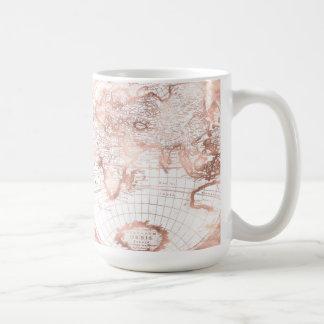 Caneca De Café Mapa do mundo cor-de-rosa da antiguidade do brilho