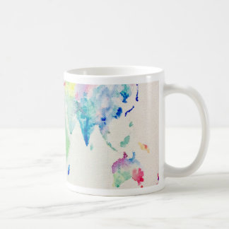 Caneca De Café mapa do mundo da cor de água