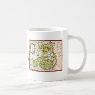 Caneca De Café Mapa do vintage de Wales e de Anglesey 1579