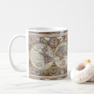 Caneca De Café Mapa Thunder_Cove do vintage do viajante de mundo
