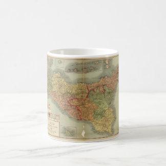 Caneca De Café Mapa velho de Sicília desde 1900 (carta de