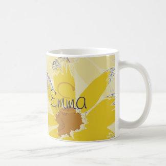 Caneca De Café Margarida amarela retro Monogrammed