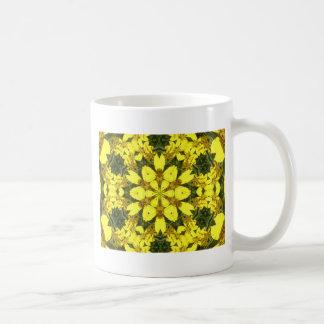 Caneca De Café margaridas abstratas florais amarelas do design