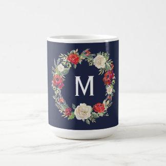 Caneca De Café Marinho floral rústico do presente de época