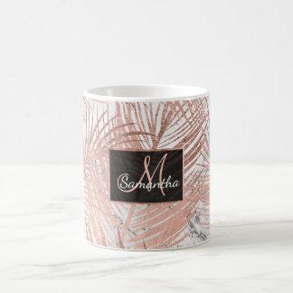 Caneca De Café Mármore cor-de-rosa da folha da palmeira do ouro