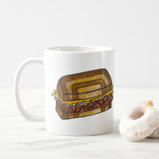 Caneca De Café Mármore Rye da carne em lata do sanduíche de