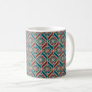 Caneca De Café Marrom, teste padrão étnico da cerceta, flores,