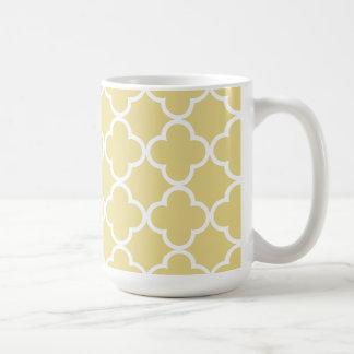 Caneca De Café Marroquino amarelo e branco Patte do creme de