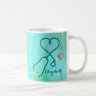 Caneca De Café Médico da enfermeira diplomada do monograma