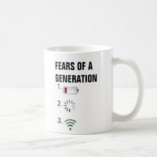 Caneca De Café Medos de uma baixa bateria da geração, ícone de