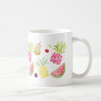 Caneca De Café Melancia do abacaxi da cereja da fruta da aguarela