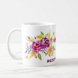 Caneca De Café Melhor mamã floral violeta cor-de-rosa