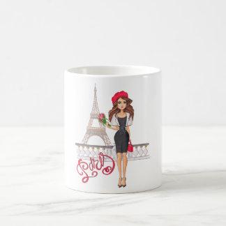 Caneca De Café Menina de Paris da forma pintado mão